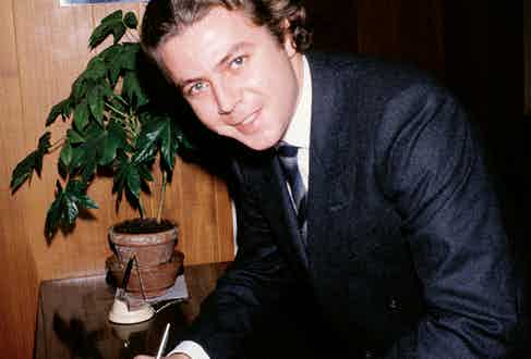 Thierry Roussel signs the birth certificate of his daughter Athina, who was born to his first wife Christina Onassis.