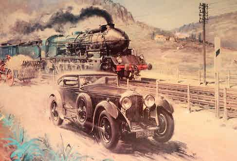 A playful depiction of Barnato's race against Le Train Bleu by English painter Terence Cuneo.