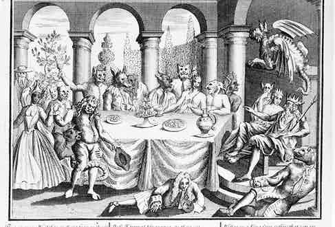 Satire of the Duke of Wharton's Hellfire gentlemen's club; guests dressed as animals and demons; two guests are dressed as Pluto and Proserpine;