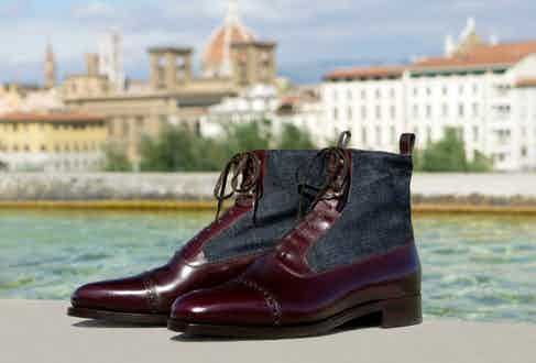 Stefano Bemer's bespoke shoes are delivered with a sixpence coin in the left shoe as a token of good luck.