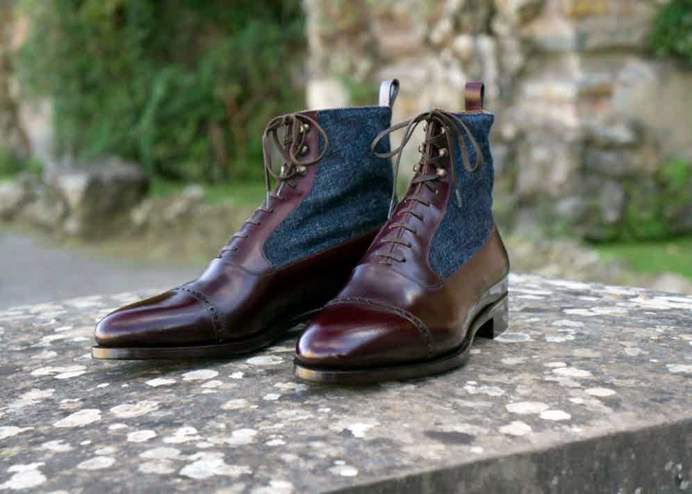 Stefano Bemer's Balmoral boots are available in a wide range of combinations including calf leather and denim (pictured).