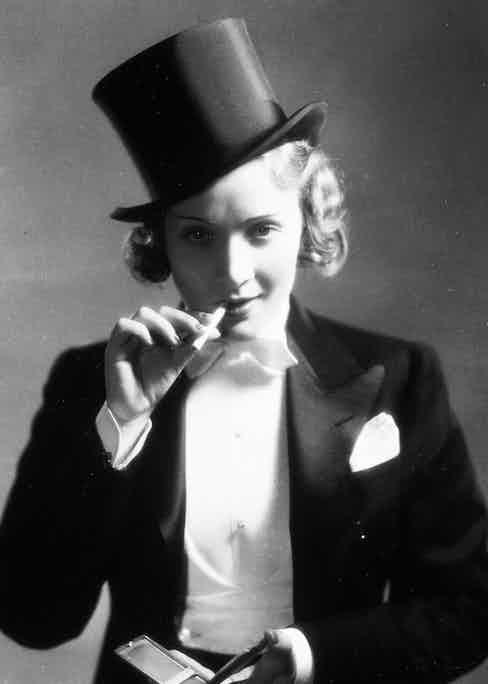 A film still of Dietrich in Morocco.
