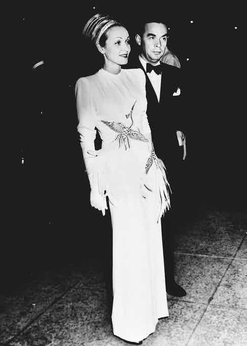 With Erich Maria Remarque at a film premier in 1939.