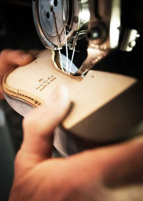 the sole of a loafer is sewn to the uppers.