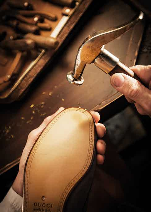 The sole is nailed in place.