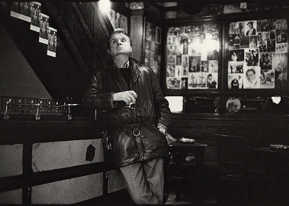 A candid shot of Francis Bacon drinking in Sohos French House, December 1984.