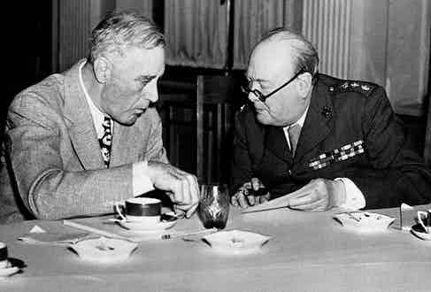 US President Franklin D. Roosevelt and Britain's Prime Minister Winston Churchill oil the wheels of diplomatic discourse at the Yalta Conference, 1945.