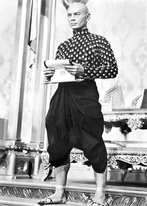 Yul Brynner appears as the King of Siam in a still from the 1956 film The King and I