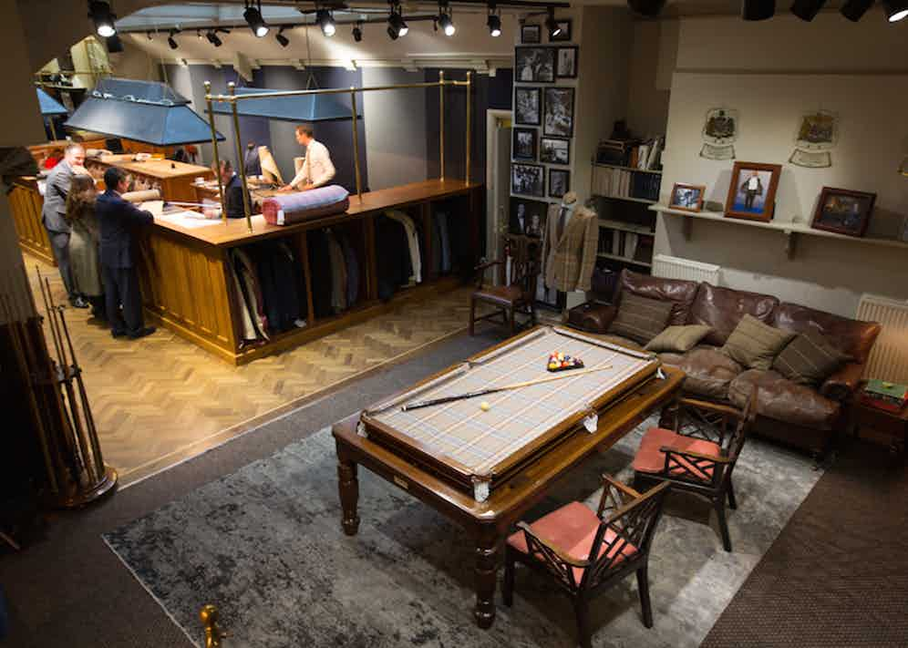 Huntsman's very own gentleman's club makes for the ideal relaxation area at the rear of the store.