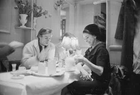 Ballet partners Rudolf Nureyev and Margot Fonteyn enjoying tea together, March 1963.