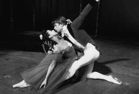 Ballet dancers Rudolf Nureyev and Margot Fonteyn rehearsing 'Marguerite and Armand' at Covent Garden, March 1963.