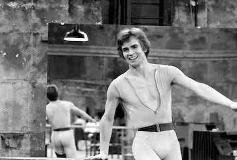 Rudolf Nureyev performs on the set of the Ballet film Le Jeune Homme et La Mort in Paris, December 1966.