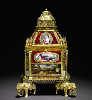 An ormolu musical automata table clock casket commissioned by the Maharajah of Hyderabad, circa 1780