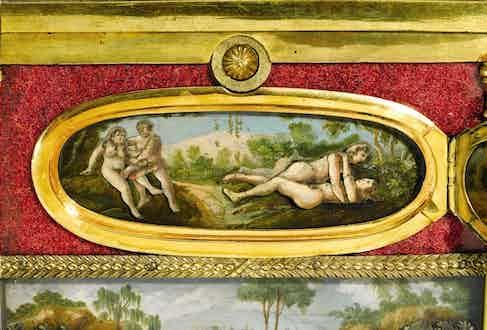 The erotic scene concealed behind the enamel duck.