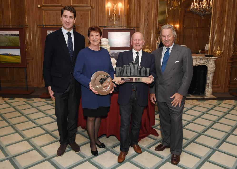 The awards ceremony for this year's Record Bale competition. From left to right, Mr Brisset, CEO of Loro Piana, winners Mrs Pamela & Mr. Robert Sandlant - the Australian farm Pyrenees Park (Victoria) and Mr Pier Luigi Loro Piana, Deputy Chairman of Loro Piana