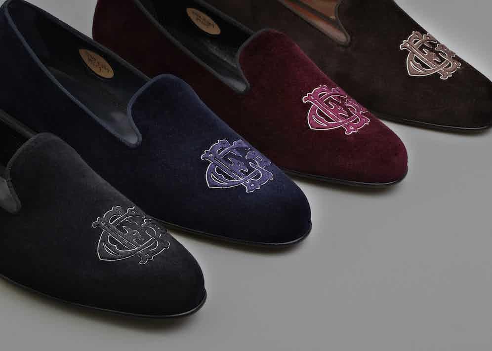 Royal albert velvet house slippers by Edward Green.