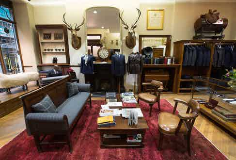 Front of house is as elegant as ever, with the house's famous stag heads proudly in place.