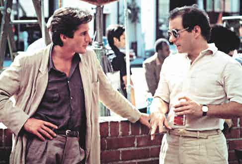 Richard Gere and director Paul Schrader on the set of American Gigolo, 1980.