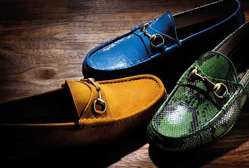 1953 horsebit loafers in blue patent leather, green python and yellow suede, all Gucci.