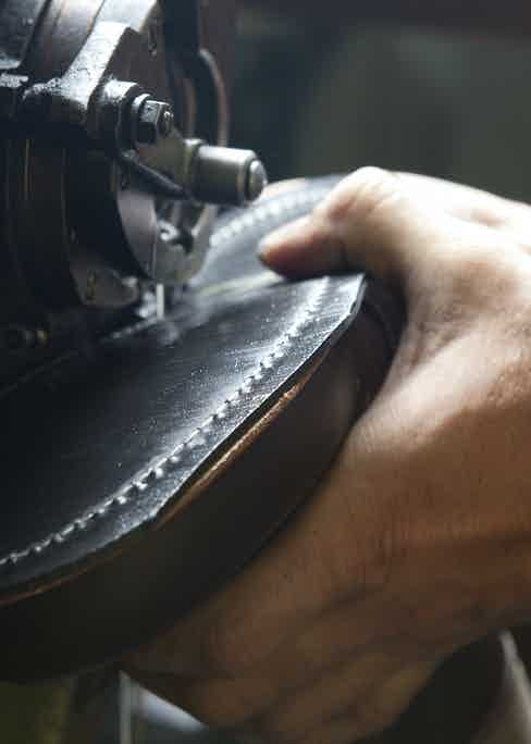 Stitching on the inner sole, which sits beneath the boot's welted rubber utility sole, providing extra strength and durability.