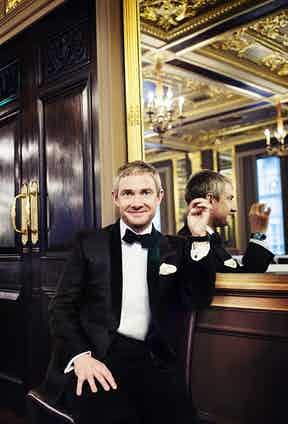 White cotton dress shirt, Budd Shirtmakers; black silk bow tie and ivory silk pocket square, both Emma Willis. Avocado-green dinner jacket with emerald- green velvet shawl lapels, Nick Tentis; and vintage gold timepiece, Rolex property of Martin Freeman. Vintage gold cufflinks, property of The Rake.