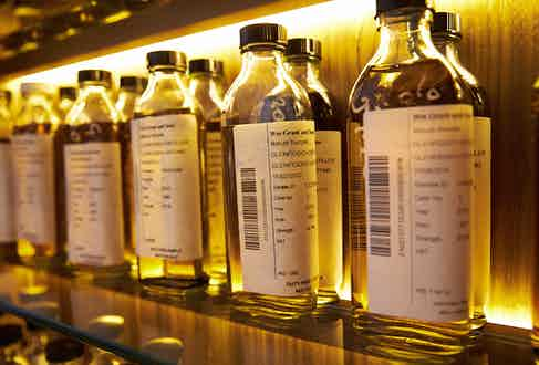 Samples bottled for testing and tasting in the distillery's laboratory.