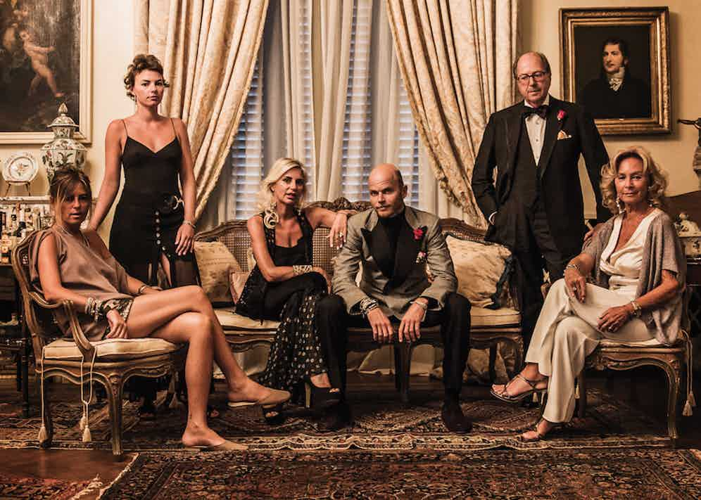 The Rubinacci family, heads of a great sartorial dynasty. From left to right: Marcella; Luca's twin sister Chiara, Alessandra, Luca and Mariano with his wife, Barbara.