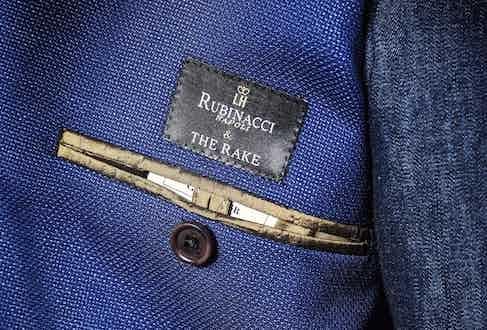 The jacket's exclusive 'Rubinacci & The Rake' label.