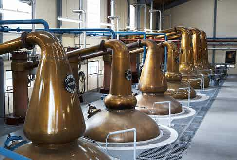 Glenfiddich's iconic second still room, complete with its idiosyncratic collection of copper stills.