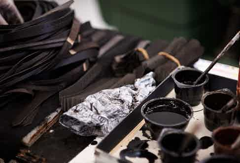A Selection of vegetal dyes are used to give the boots their deep, dark brown hue.
