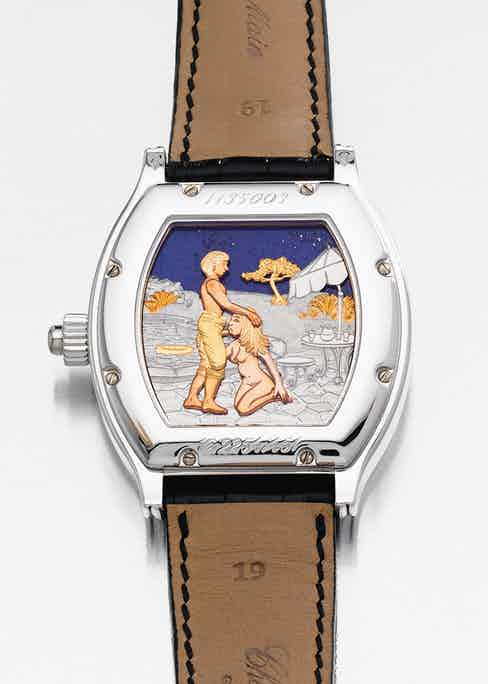 An erotic caseback by Chopard, sold by Christies in 2007.