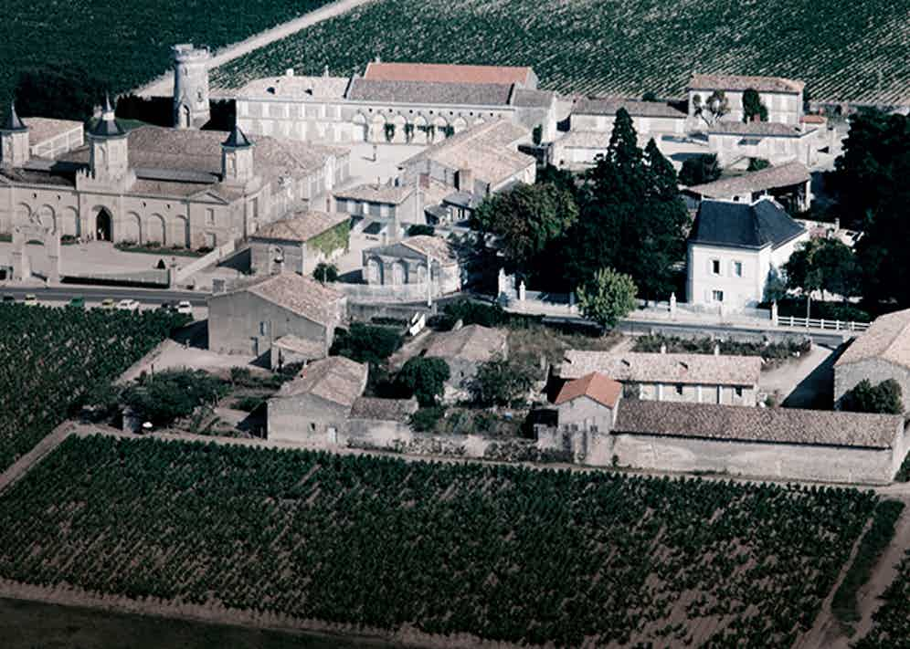 An aerial view of Château Mouton Rothschild,France,which is owned by a branch of the banking dynasty who are members of the Primum Familiae Vini.