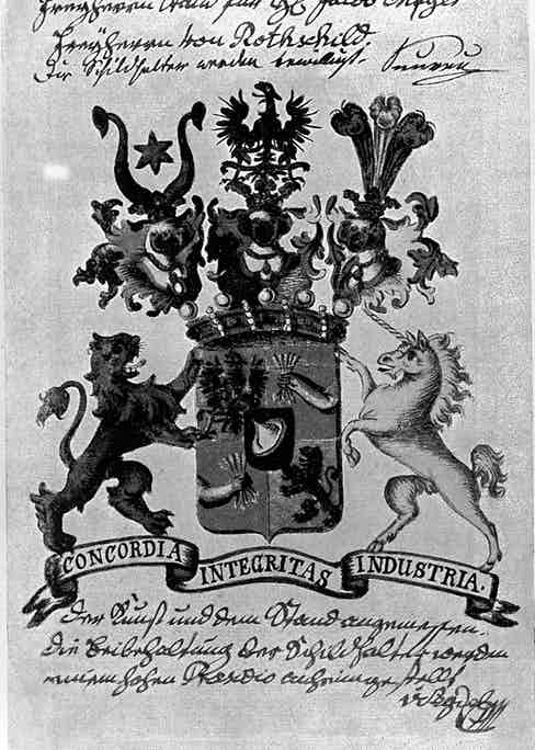 The Rothschild family crest. The five arrows clutched by a hand symbolise the five sons who were sent to expand the family's banking dynasty across Europe.