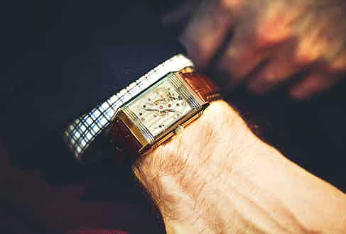 Paul prefers watches made with meticulous in-house movements. His Jaeger-LeCoultre Reverso Sun-Moon Date ticks the requisite box, and was purchased to celebrate the signing of his first employment contract.