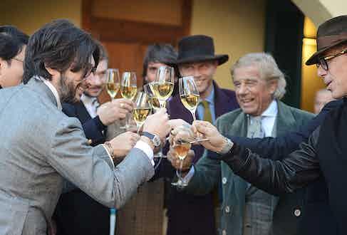 A toast to Pitti Uomo. Pictured from left to right: Nicola Ricci, Luca Rubinacci, Lino Ieluzzi and Alberto Saccioni.
