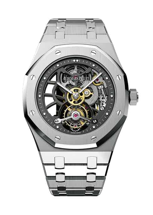The 40th-anniversary limited- edition Audemars Piguet Royal Oak Extra Thin Openworked Tourbillon is a consummate work of high watchmaking.