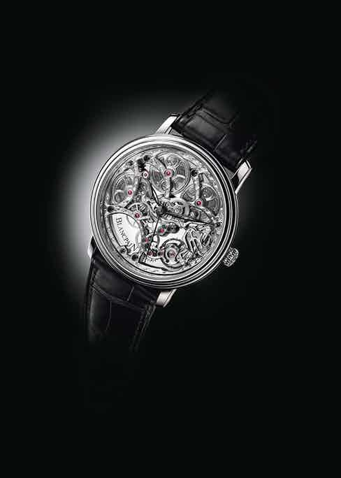 The Blanc pain Villeret 8 Jours Squelette is a particularly fine example of the skeletonising technique, embellished with meticulous engraving.