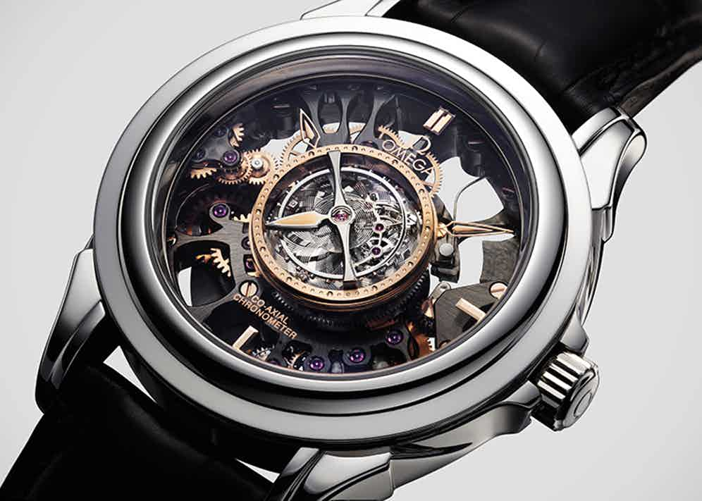 The 2010 Omega Central Tourbillon Skeleton combines one of Omega's most stunning watch movements with skeletonised bridges.