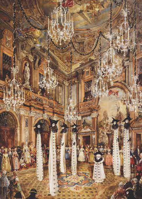 Entrance of the ghosts of Venice, during a fancy dress party, in 1951 by Charles de Beistegui in Palazzo Labia, watercolour by Alexandre Serebriakoff (1907-1994). 20th century. (Photo by DeAgostini/Getty Images)