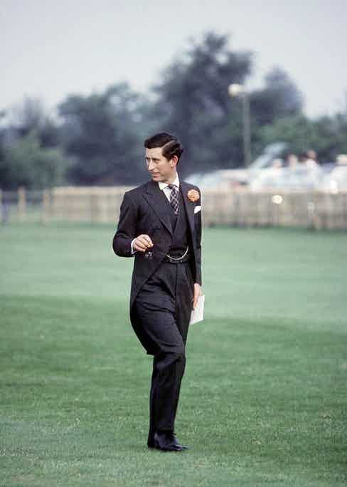 Prince Charles in Anderson & Sheppard after Ascot, 1979