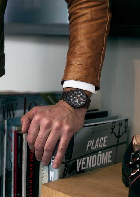 """Francois's watch is the iconic Porsche Design by Orfina from 1980. He loves its association with motoring royalty: """"As a car lover, I like the idea that the watch was designed by Ferdinand Alexander Porsche, one of the greatest car engineers of the 20th century. I also love it's history, it was Tom Cruise's watch in Top Gun and the Chronograph of Mario Andretti who won the Indianapolis 500, the Daytona 500, the Formula One World Championship and the Pikes Peak Hillclimb."""" Not a bad pedigree by all accounts."""