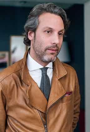 """Francois's calfskin motorcycle jacket is from Brunello Cucinelli; """"I love how soft the leather is"""" he says, """"I also love it's subtle caramel patina. Cucinelli knows how to perfectly mix modernity, elegance and style with the finest materials."""""""