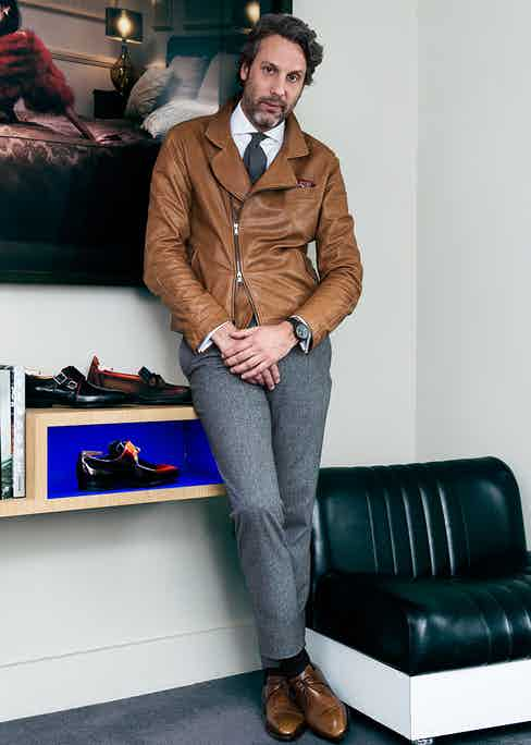 """When it comes to Corthay shoes, even Francois has his favourites. """"I love the Arca derby"""" he explains, """"its design is quite emblematic: it resembles the front of a 1960s sports car or the curves of an eagle's claw. The elegance of the shoe is further enhanced by its inverted lacing, which is another special touch."""""""