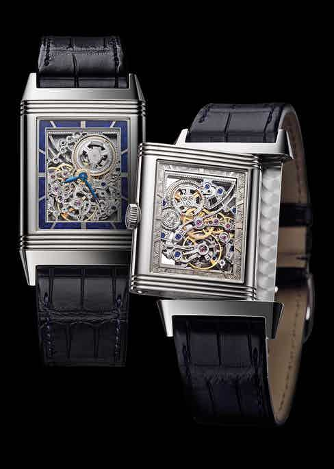 Skeletonising an extra-thin movement, as in the case of the Jaeger-LeCoultre Grande Reverso Ultra Thin Squelette, adds an extra dimension of difficulty—the movement must be thin yet robust, necessitating a nuanced understanding of movement structure and design.