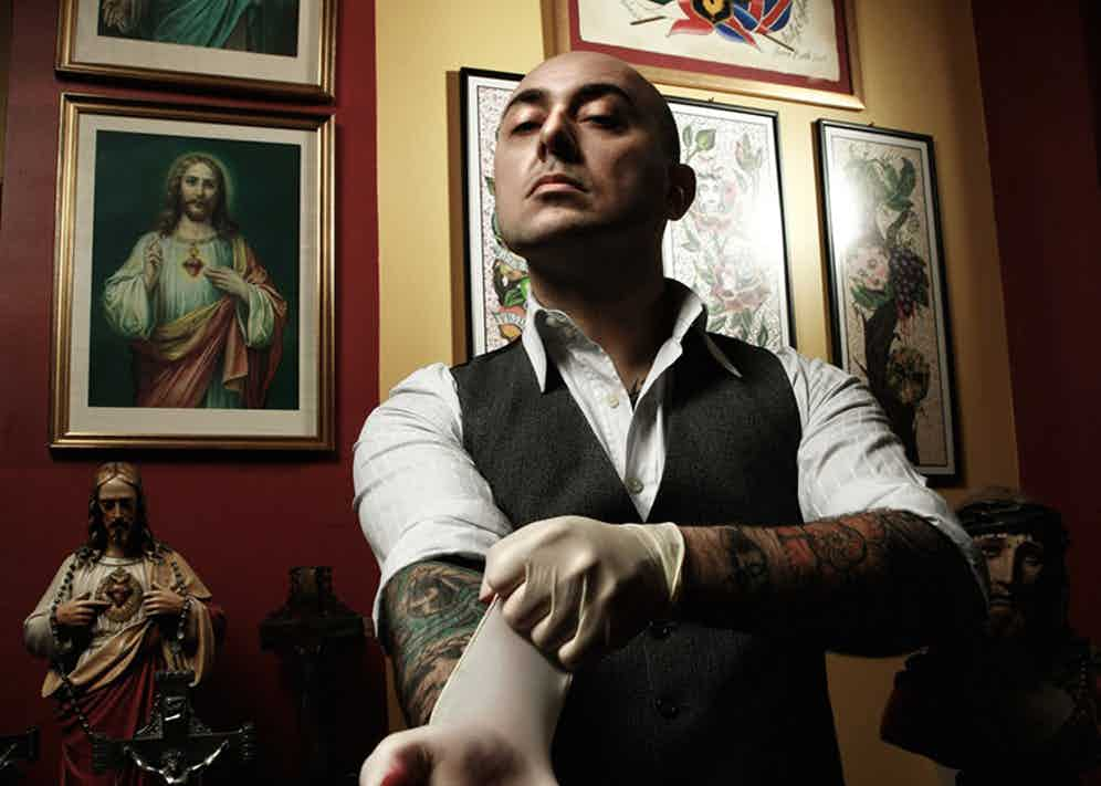 at The Family Business Tattoo Studio in North London.