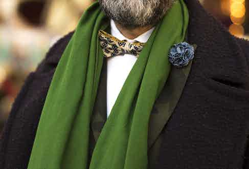 Paul scarf is actually a much loved meditation shawl. 'I bought it whilst living in India over 22 years ago', he explains. 'Green seems to be my colour this winter, so this has been reborn into the life of a scarf.'