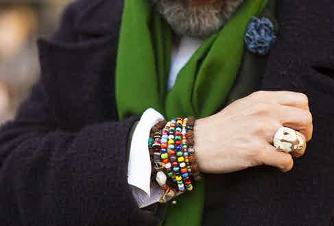 Bracelets are a big deal for Paul: 'I'm always hunting for bracelets. These three are from different places – the multicoloured beads are again from Marco Cantini - I can never resist his creations. The rudraksha beads are from India, and then my other bracelet was a gift and is made from antique Venetian glass beads.'
