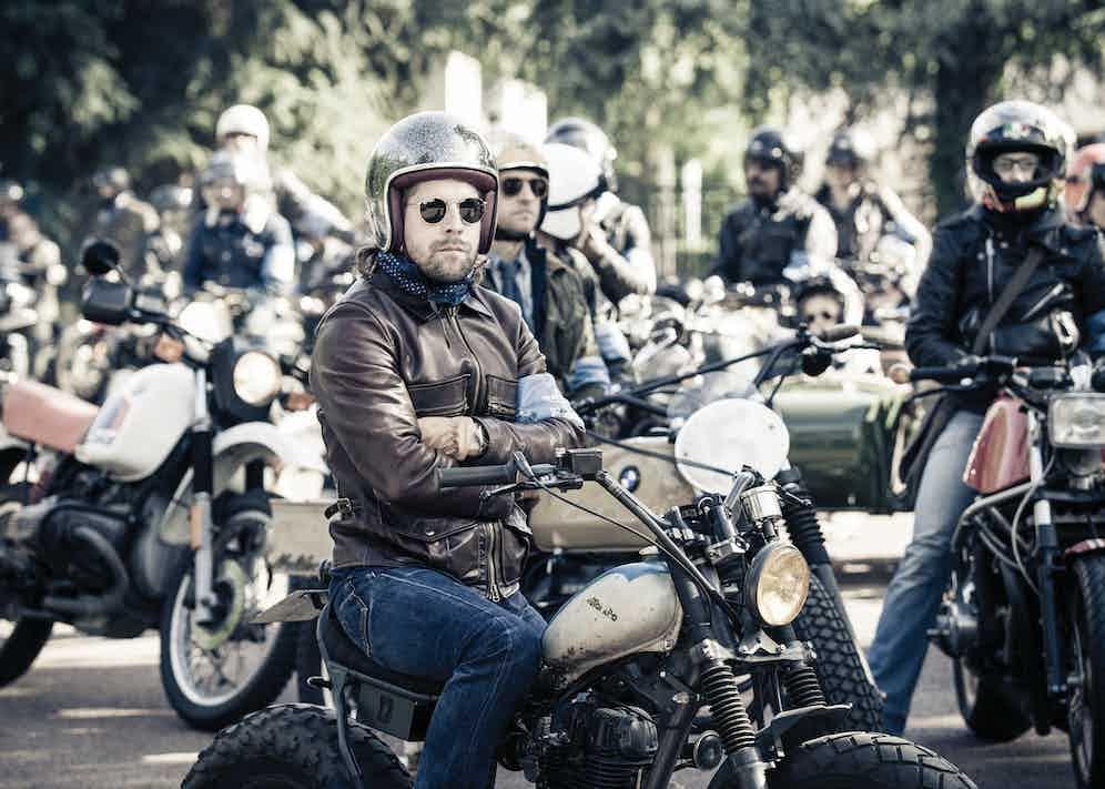 A rakish motorcylist from the 'RRL Riders' tour.