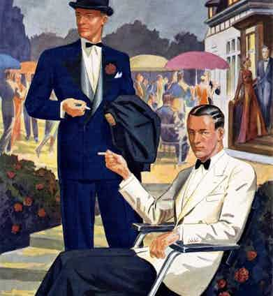 Reflecting classic riviera style, this late 1930s illustration demonstrates the timeless appeal of French blue and cream dinner jackets.