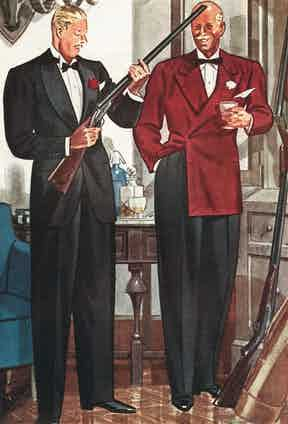 A mid-1950s illustration demonstrating the appeal of a dark red flannel evening coat for hunt dinners.